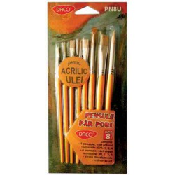 Set 8 pensule scolare fibra naturala diferite forme