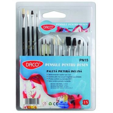 Pensule set 15 - paletă acuarelă inclusă Daco