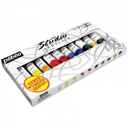 Set 10 culori acrilice Studio Pebeo + 1 pensula cadou